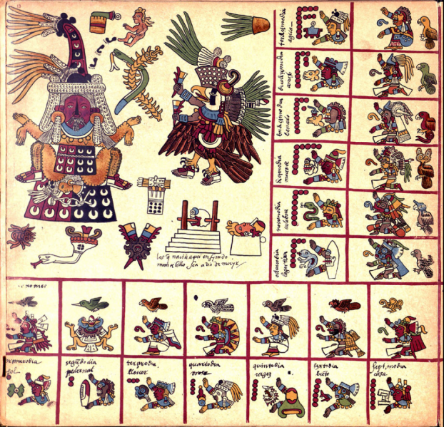 File:13th Trecena 1 Caban Tlazolteotl birthing Centeotl, Codex Borbonicus.png